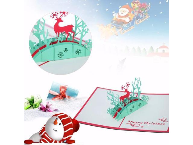 Pop Up Christmas Cards.3d Pop Up Christmas Cards Elk Pattern Merry Christmas Series Invitation Greeting Cards Anniversary Souvenirs Gift Newegg Com