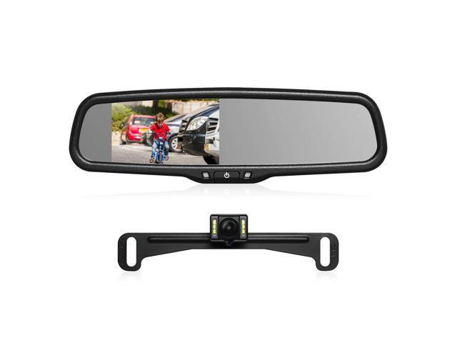 """4.3/"""" LCD Mirror Monitor Car Rear View Mount Backup Parking Camera Night Vision"""