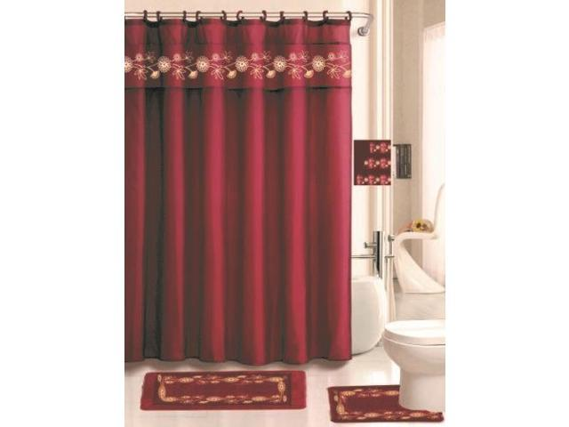 Louissa Burgundy 18 Piece Set Includes One Fabric Shower Curtain 2 Rugs 3