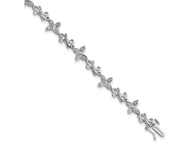 925 sterling silver rhodium-plated diamon butterfly and bows bracelet