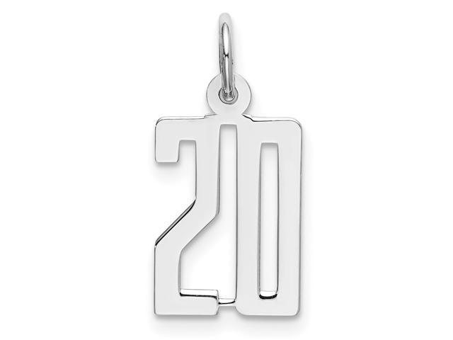925 Sterling Silver Small Elongated Polished Number 20
