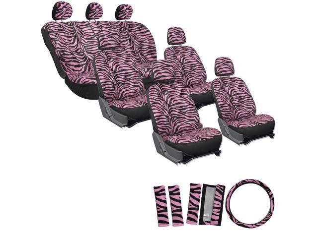 23pc SUV Pink Black Zebra Print Car Seat Cover Steering Wheel Belt Head