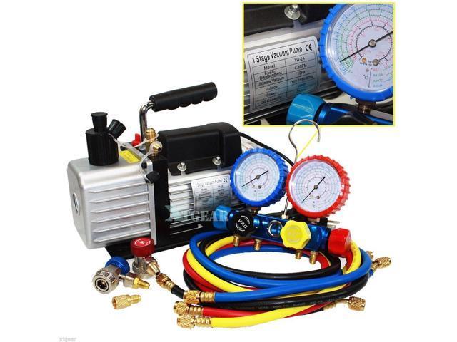 4 8CFM Vacuum Pump 4VALVE MANIFOLD GAUGE R410A R134A R22 HVAC AC  Refrigerant Set - Newegg com