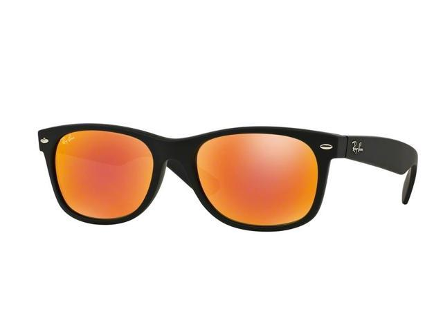 fa422a419d9 Ray-Ban 0RB2132 New Wayfarer Full Rim Square Unisex Sunglasses - Size 55 ( Brown Mirror Red   Rubber Black)