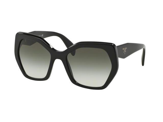e492c8cd4f07 Prada 0PR 16RS Sun Full Rim Irregular Womens Sunglasses - Size 56 (Black /  Grey