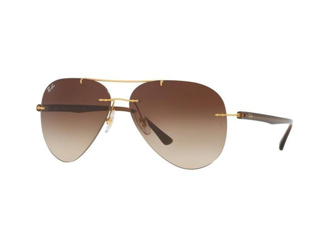 556f7f912b Ray-Ban 0RB8058 Rimless Pilot Unisex Sunglasses - Size 59 (Brown  Gradient Brushed