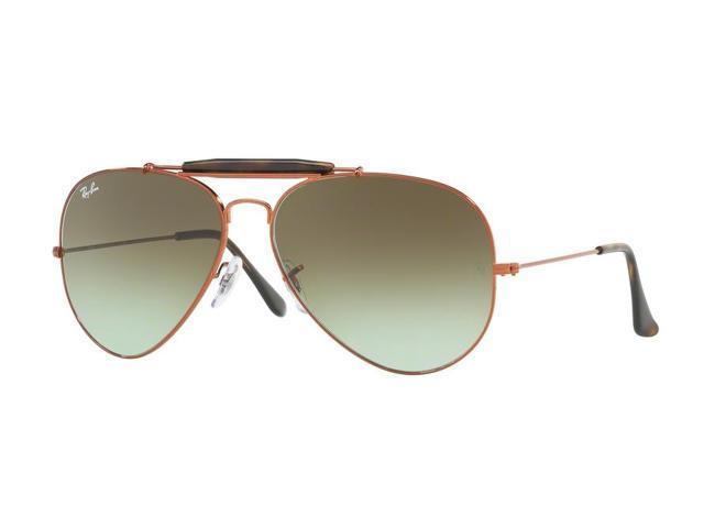 263ed60da4153 Ray-Ban 0RB3029 Full Rim Pilot Unisex Sunglasses - Size 62 (Green Gradient  Brown