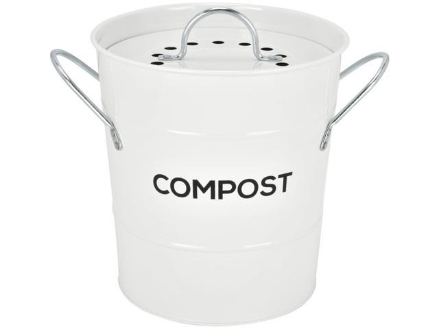 Spigo Steel Kitchen Compost Bin With Vented Charcoal Filter and Bucket,  White, 1 Gallon - Newegg.com