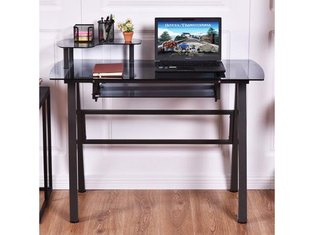 Glass Top Computer Desk Pc Laptop Table Workstation Metal Frame W Printer Shelf