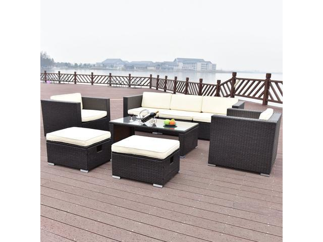 48 PCS Outdoor Patio Rattan Wicker Furniture Set Sofa Cushioned Simple Mailroom Furniture Exterior