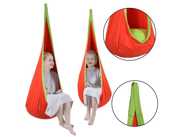 Pleasant Costway Child Pod Swing Chair Tent Nook Indoor Outdoor Hanging Seat Hammock Kids Bralicious Painted Fabric Chair Ideas Braliciousco