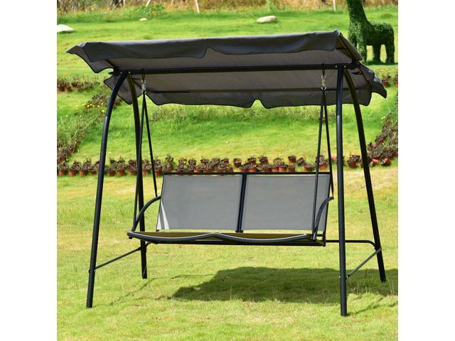 Loveseat Patio Canopy Swing Glider Hammock Cushioned Steel Outdoor Gray