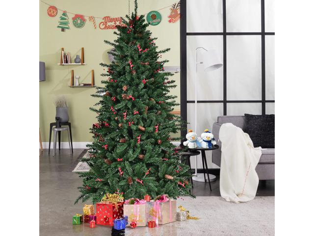7FT Artificial PVC Christmas Tree 1918 Tips Green W/Pine