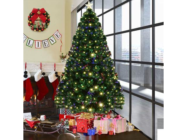 7 Pre Lit Fiber Optic Artificial Christmas Tree W 280 Led Lights Top Star