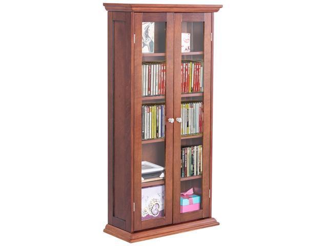 44 5 Wood Media Storage Cabinet Cd Dvd Shelves Tower Gl Doors Walnut