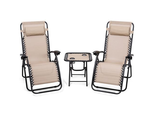 Groovy 3Pc Zero Gravity Reclining Lounge Chairs Pillows Table Portable Folding Beige Black Uwap Interior Chair Design Uwaporg