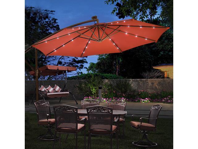 0a96cc0c2cadc 10' Hanging Solar LED Umbrella Patio Sun Shade Offset Market W/Base Burgundy