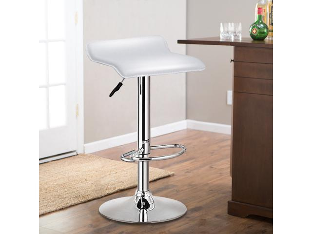 Peachy Set Of 2 Swivel Bar Stool Adjustable Pu Leather Backless Dining Chair White Machost Co Dining Chair Design Ideas Machostcouk