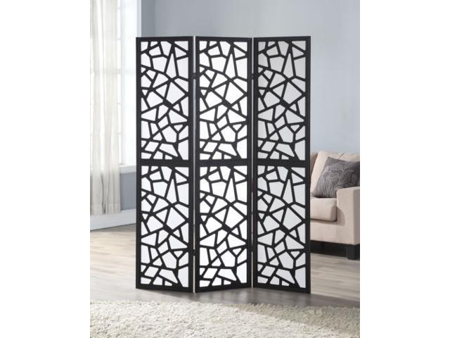 3 Panel Room Divider Folding Privacy Shoji Screen Pine Wood Frame Black