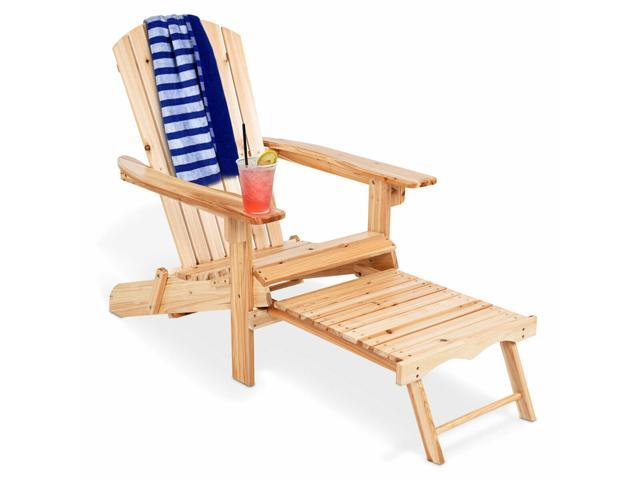 Admirable Wood Adirondack Chair W Footrest Stool Ottoman Foldable Patio Deck Outdoor Newegg Com Gamerscity Chair Design For Home Gamerscityorg