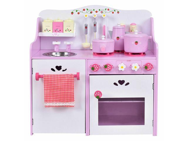 Kids Wooden Play Set Kitchen Toy Strawberry Pretend Cooking Playset Toddler  - Newegg.com