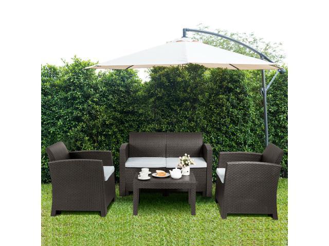 Beau 4 Piece Patio Furniture Set Molded Rattan Sectional Sofa Set Coffee Table  Coffee