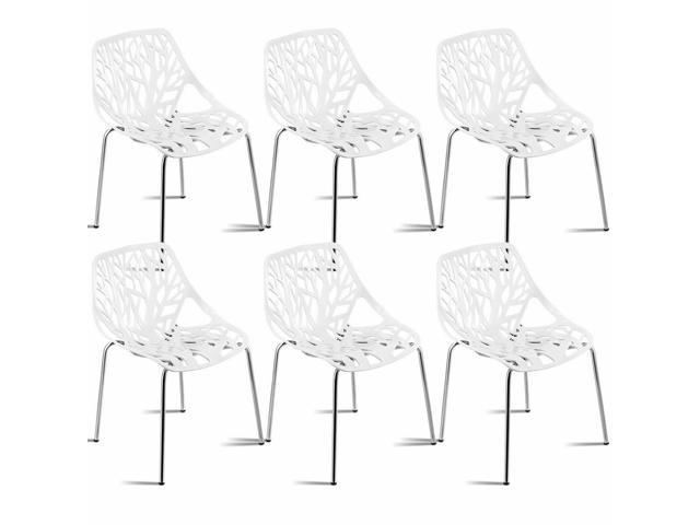 Enjoyable Set Of 6 Birch Sapling Plastic Dining Side Chairs Stackable Accent Armless White Uwap Interior Chair Design Uwaporg