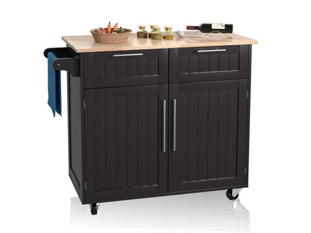 Rolling Kitchen Cart Island Heavy Duty Storage Trolley Cabinet Utility  Modern - Newegg.com