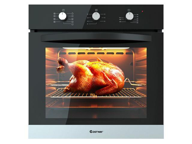 "24"" Electric Built-In Single Wall Convection Oven Tempered Glass Buttons Control"