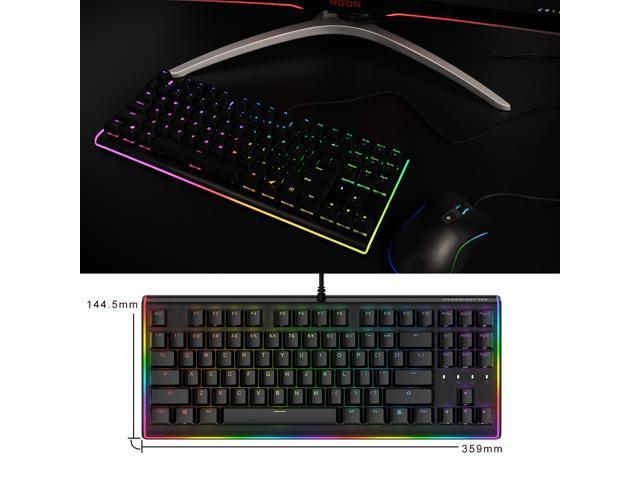 DURGOD Mechanical Gaming Keyboard RGB LED Backlit and Illuminated Side  Light With Cherry MX Red Switches USB Wired Compact Chassis Design 87 Keys  PC