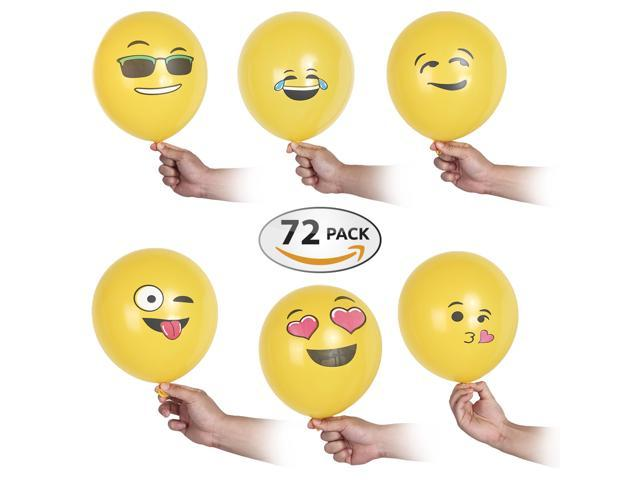 Premium Emoji Party Balloons 12 Inch – 72 Pack Party Decorations ...