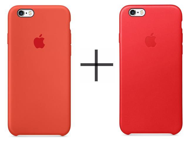 buy popular 797dd 2b40f Apple iPhone 6 Plus/6s Plus Leather Case - Red + Apple iPhone 6 Plus/6s  Plus Silicone Case - Orange - Newegg.com