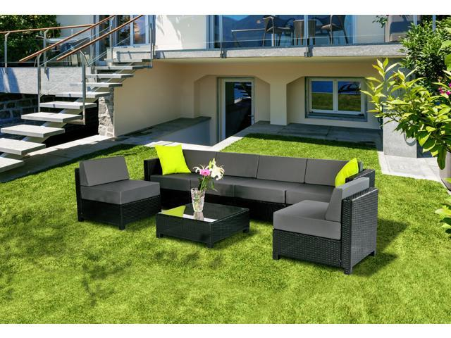 Mcombo 7 PC Deluxe Outdoor Garden Patio Rattan Wicker Aluminum Frame  Furniture Sectional Sofa Set Cushioned Seats (Grey) Sectional, Outdoor  Sectional, ...