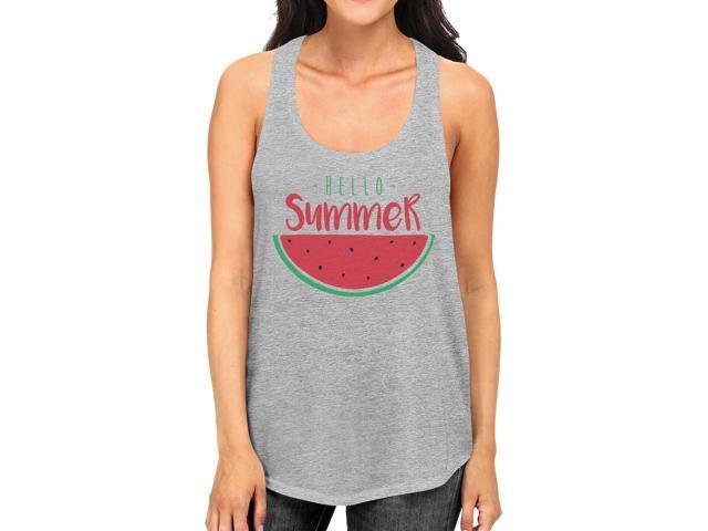 107ba44ff6003 Hello Summer Watermelon Womens Grey Graphic Tank Top For Summer ...