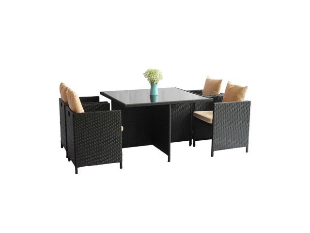 Maxon 5 Pcs Rattan Cube Garden Furniture Set Outdoor Wicker Desk And Chairs Dining