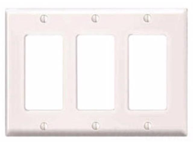 Leviton 80411 Nw 3 Gang Decoragfci Device Wallplate Standard Size
