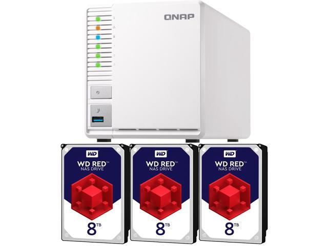 QNAP TS-328 2GB RAM 3-Bay Home / SMB NAS Preconfigured with 24TB (3 x 8TB)  Western Digital RED NAS Drives - Newegg com