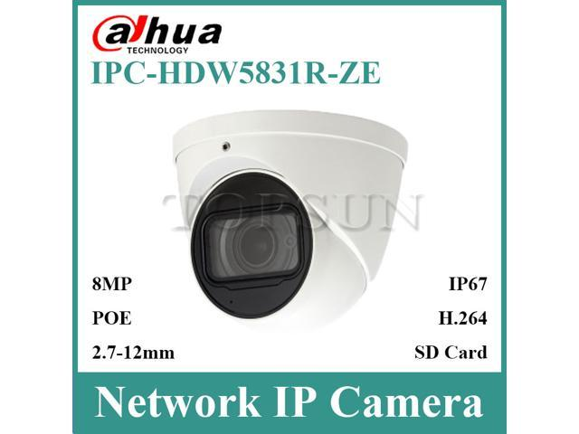 Dahua IPC-HDW5831R-ZE 4K 8MP WDR IR Eyeball Network Camera POE 2 7 ~12mm  Motorized Lens IP67 SD Card Built-in Mic without logo - Newegg com