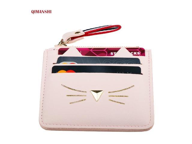 premium selection fd389 7ac68 QIMANSHI Women Coin Purses Card Holder Wallet Mini Credit Card Holders For  Female Lovely Cat Ear Cash Card Purse - Newegg.com