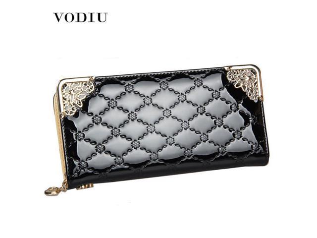2c894e2fb47 2018 Luxury Vintage Brand Women Long Patent Leather Plaid Wallet Female  Clutch Ladies Phone Purse Coin