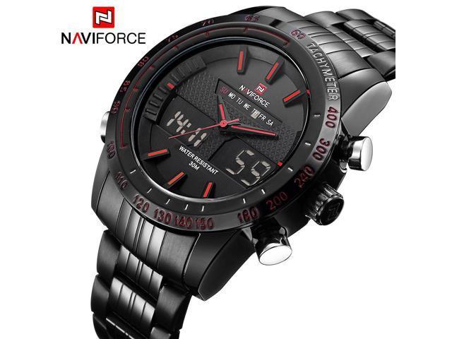 NAVIFORCE Luxury Brand Men Waterproof Full Steel Watches Men s Quartz Analog  LED Clock Male Sport Wrist 6a9afaf34d
