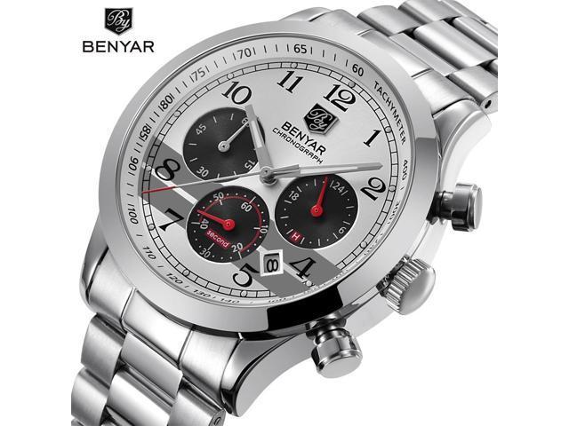 789b72b44a1 BENYAR Stainless Steel Waterproof Chronograph Watches Quartz Military Men  Watch Top Brand Luxury Male Sport Clock