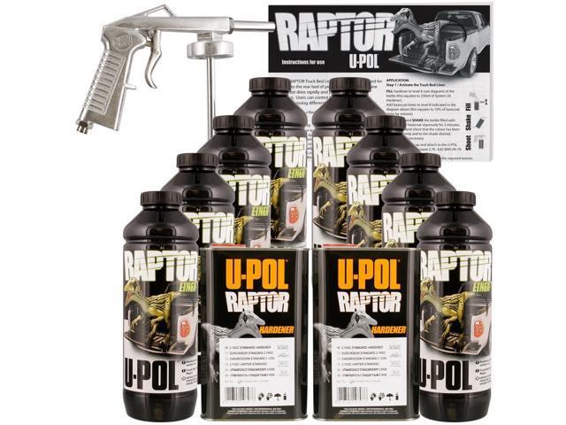 U Pol Raptor Black Truck Bed Liner Kit W Spray Gun 8l 2 Box Upol
