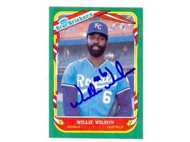 Autograph Warehouse 69090 Willie Wilson Autographed Baseball Card Kansas City Royals 1987 Fleer Star Stickers No 125 Neweggcom
