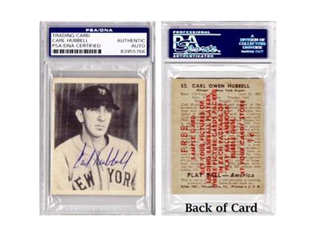 Real Deal Memorabilia Chubbellcard 1 Psa Carl Hubbell Signed Autographed 1939 Play Ball Salesman Sample Baseball Card New York Giants Neweggcom