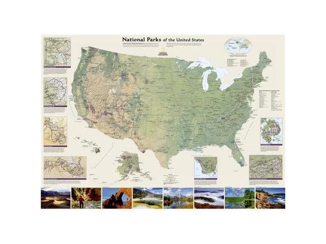 National Geographic RE01020602 United States National Parks laminated Map