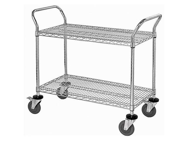 Stainless Steel Wire Rack | Quantum Storage Wrsc 2436 2 Stainless Steel Wire Shelving Cart