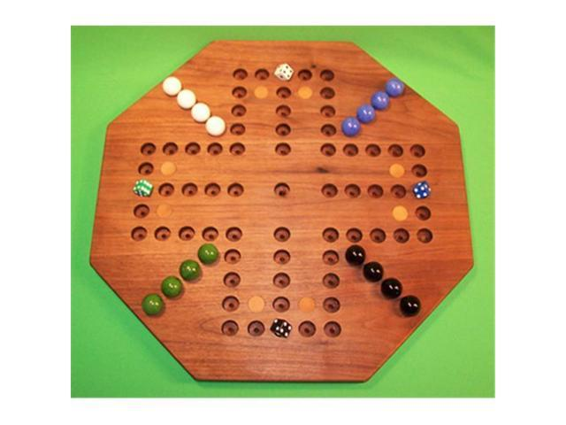 Charlies Woodshop W-1933 1 18 in  Octagon Wooden Marble Game Board with 8  Birch Inlaid Spots, Black Walnut - Oiled - 4-Player - 5-Hole - Newegg com