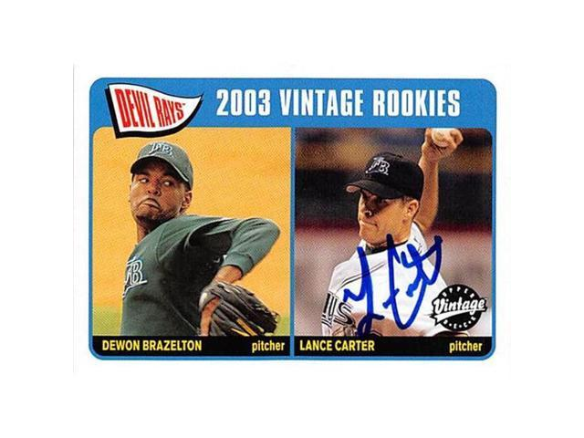 Autograph Warehouse 302284 Lance Carter Autographed Baseball Card Tampa Rays 2003 Upper Deck Vintage No 231 Rookie Neweggcom