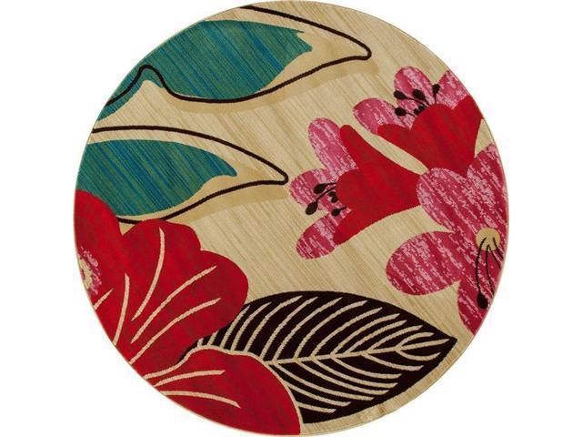 Art Carpet 841864117905 5 Ft Antigua Collection Hibiscus Woven